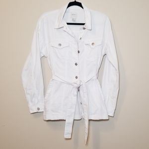 Forever 21 Contemporary Long White Denim Jacket XS